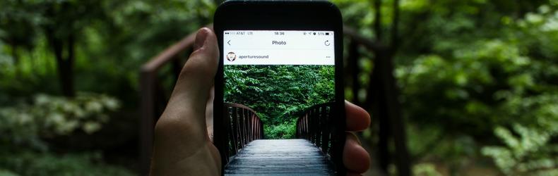 image of instagram on smartphone screen