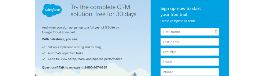 An example of a free trial offer for SaaS companies