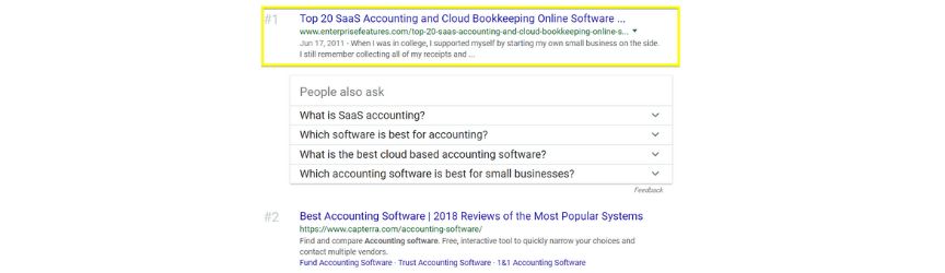 An example of search results for an SaaS keyword