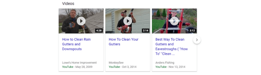 A screenshot of videos in search results, a benefit of video marketing for businesses