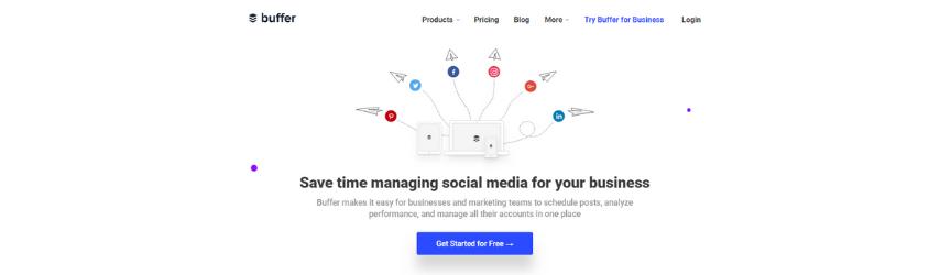 A screenshot of the Buffer homepage