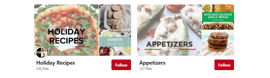an example of organizing boards for a pinterest marketing strategy