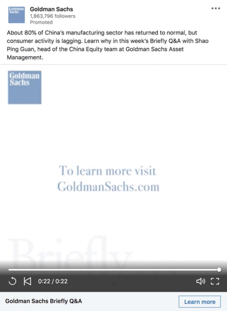 Sponsored social media advertisement for Goldman Sachs