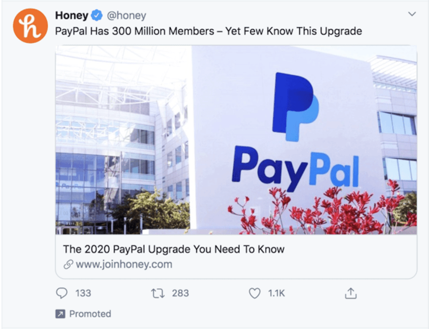 Promoted Twitter advertisement for Honey