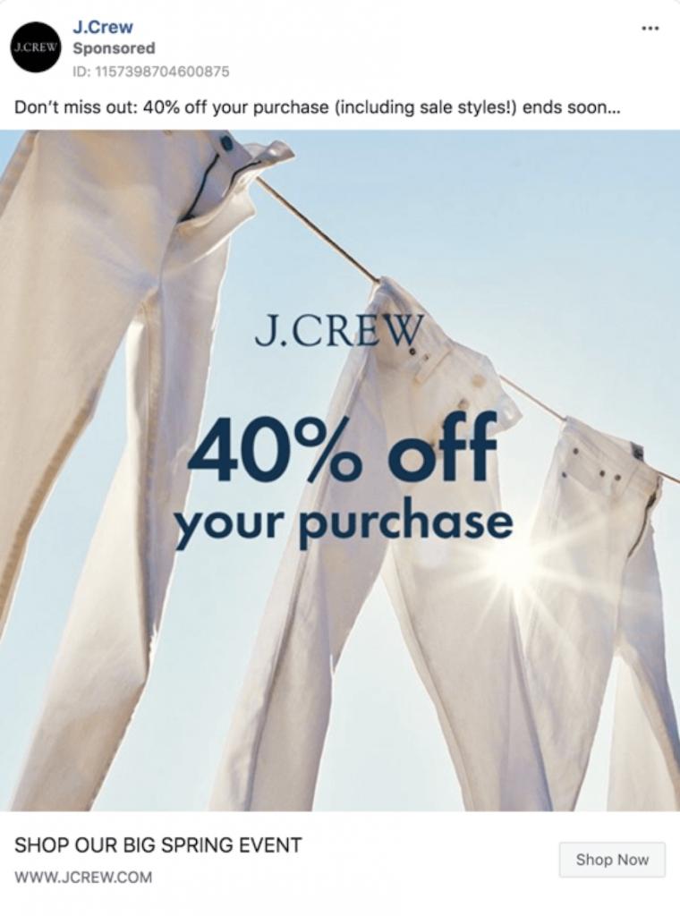 J. Crew sponsored Facebook advertisement