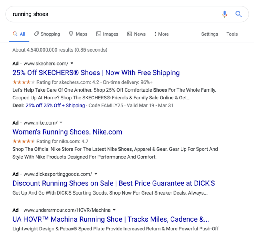 Google ads for Skechers' running shoes
