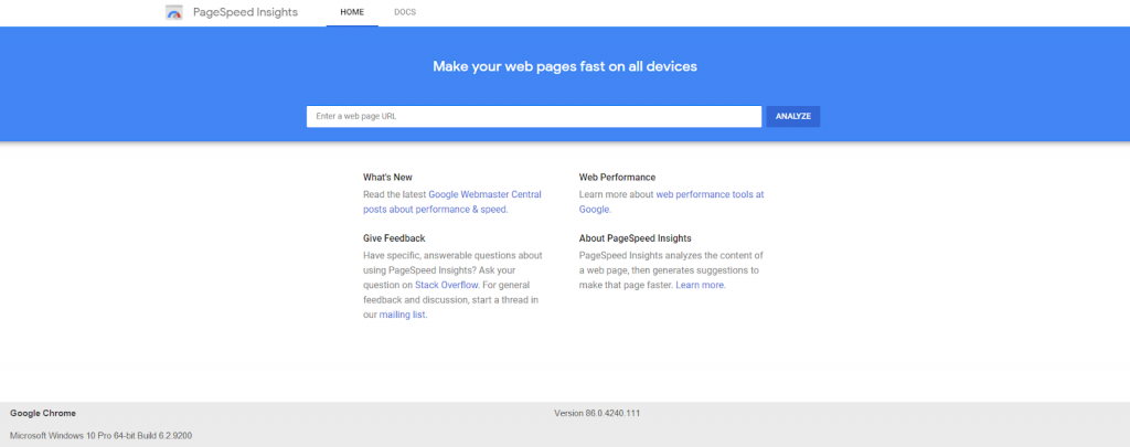 Homepage of Google PageSpeed Insights with a blue/white color scheme